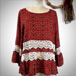 2for$30  ENTRO Bell Sleeve Crochet Lace Tunic